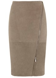 Mint Velvet Mink Suede Zip Pencil Skirt Mink
