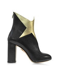 Charlotte Olympia Galactica Black Nappa And Gold Textured Leather Ankle Boot