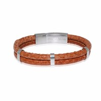 Marlin Birna Atlantic Salmon Leather Bracelet Double Cord Cognac And Stainless Steel Silver Brown