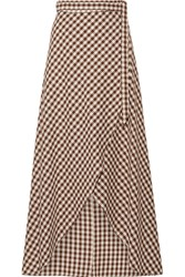 Miguelina Gingham Cotton Wrap Maxi Skirt Dark Brown