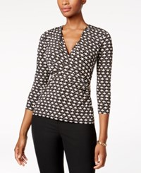 Charter Club Petite Faux Wrap Top Created For Macy's Deep Black Combo