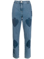 Boutique Moschino Spades Print Jeans Blue