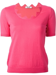 Moschino Cheap And Chic Scalloped Neck T Shirt Pink And Purple