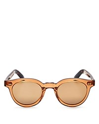 Toms Fin Mirrored Round Sunglasses 47Mm Ash Brown Crystal Bronze Mirror