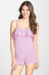 Joe's Jeans Women's Joe's 'Cara' Lace And Ruffle Trim Romper Orchid Stripe