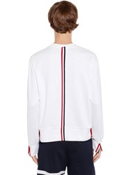 Thom Browne Cotton Jersey Sweatshirt W Knit Stripe White