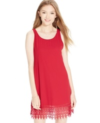 Speechless Juniors' Crochet Hem Shift Dress