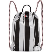 Thom Browne Black And White Drawcord Bag