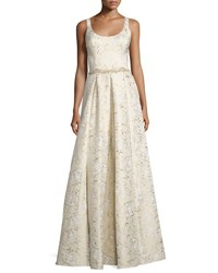 Marchesa Sleeveless Scoop Neck Embroidered Gown Gold