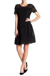Anne Klein Short Sleeve Crochet Fit And Flare Dress Black