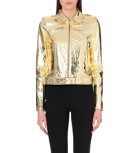 Versus Leather Biker Jacket Gold