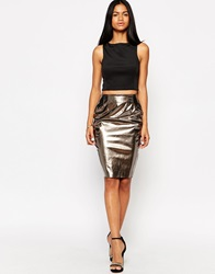 Ax Paris Patent Pencil Skirt Pewter