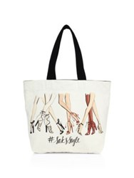 Saks Fifth Avenue Saksstyle Leg Print Canvas Tote White Multi