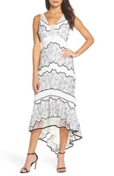 Harlyn Embroidered Lace Dress Off White Black