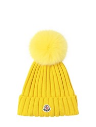 Moncler Wool Knit Hat W Fur Pompom Yellow