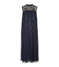 Talbot Runhof Loopy1 Sheer Overlay Sequin Gown Female Navy