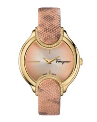Salvatore Ferragamo 38Mm Signature Watch W Diamonds And Leather Strap Pink