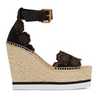 See By Chloe Black Glyn Wedge Espadrilles Sandals