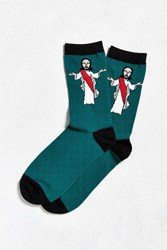 Urban Outfitters Jesus Sock Green