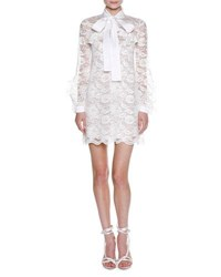 Francesco Scognamiglio Long Sleeve Tie Neck Floral Lace Minidress White