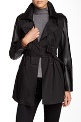 Rachel Roy Faux Leather Sleeve Trench Coat Black