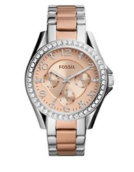 Fossil Riley Crystal And Two Tone Stainless Steel Bracelet Watch