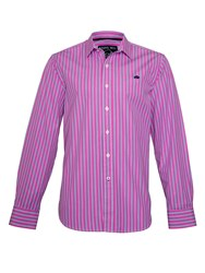 Raging Bull Varied Stripe Long Sleeve Classic Collar Shirt Pink
