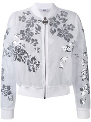 Gcds Floral Sequin Bomber Jacket Women Polyester M White