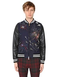 Valentino Fireworks Wool And Leather Jacket