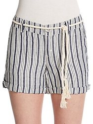 Michael Stars Striped Tie Shorts Ship Navy
