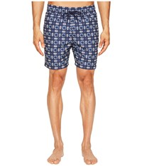 Jack Spade Flower Tile Swim Trunks Navy Men's Swimwear