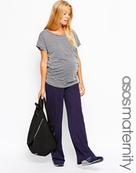 Asos Maternity Exclusive Lounge Pants With Fold Over Navy
