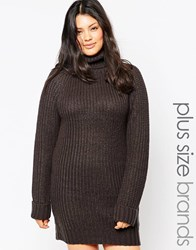 Brave Soul Plus High Neck Jumper Dress With Long Sleeves Charcoal