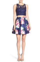 Women's Sequin Hearts Floral Print Lace Two Piece Dress Navy