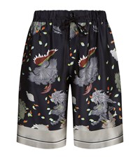 Meng Floral Print Silk Shorts Black