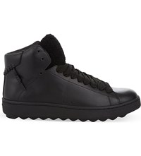 Coach Shearling Leather High Top Trainers Black
