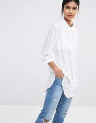 Y.A.S Squares Shirt With Long Sleeves White