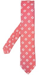 Isaia Square Print Tie Red