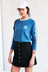 Adidas Originals 3 Stripes Long Sleeve Tee Blue