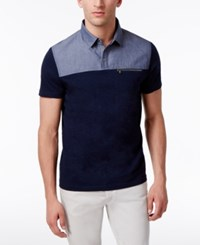 Inc International Concepts Men's Colorblocked Cotton Polo Only At Macy's Basic Navy