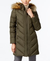 Larry Levine Faux Fur Trim Chevron Quilted Down Coat Military Green