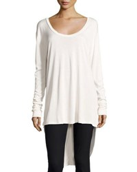 Knot Sisters Stadium Scoop Neck High Low Tee Off White