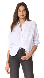 Ayr The Biz Button Down Shirt White Blue
