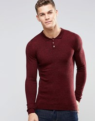 Asos Merino Wool Muscle Fit Long Sleeve Polo Red Twist