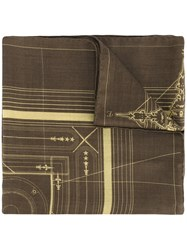 Givenchy Serpent Print Scarf Brown