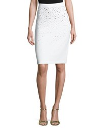 St. John Santana Knit Pull On Skirt White Gold