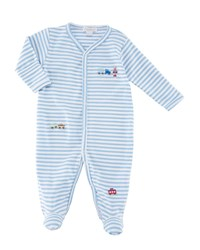 Kissy Kissy Little Railroad Striped Footie Playsuit Size Newborn 9 Months Blue