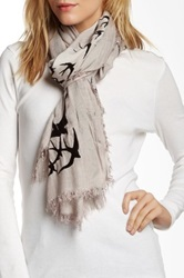 Leigh And Luca Classic Rectangle Fringe Scarf Gray