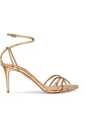 Aquazzura First Kiss Metallic Leather Sandals Gold