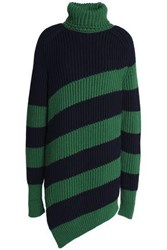 Marco De Vincenzo Striped Ribbed Wool Turtleneck Sweater Navy